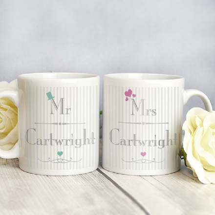 Personalised Decorative Wedding Mr & Mrs Mug Set